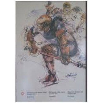 SARAJEVO OLIMPIJSKE IGRE PLAKAT HOKEJ : SARAJEVO OLYMPIC GAMES VINTAGE POSTER ICE HOCKEY